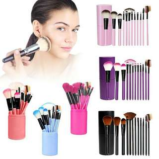 12 BRUSH MAKEUP MURAH + HOLDER