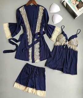 Minimei追加款✪韓系韓版歐美風性感睡衣女夏季薄款仿和服睡袍家居服睫毛蕾絲三件套裝性感睡衣女