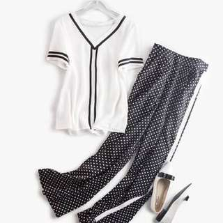 🚚 060505(S~L)歐美  條紋t恤+撞色條紋波點長褲套裝