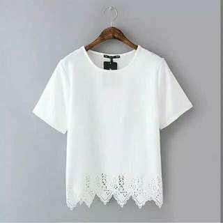 Laser blouse white n black
