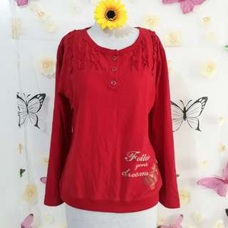 RED PULLOVER BLOUSE M/L