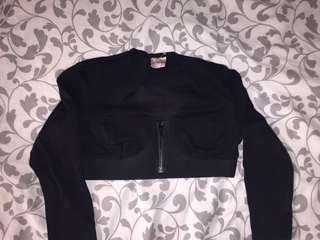 Black Crop Top w/zip