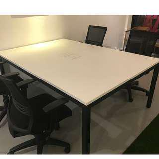 FREE - 6 White office desk with 4 power points
