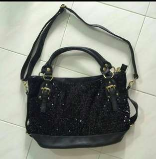 Sequin black bag