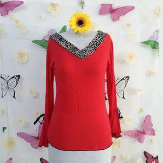 CLASSY RED COTTON BLOUSE S/M