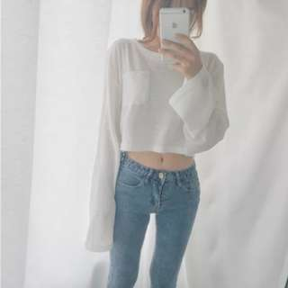 Vintage Cropped Long Sleeve Top with Pocket