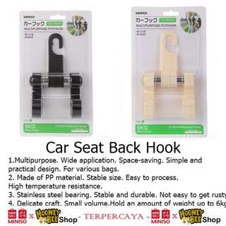 Japan Quality - Car Seat Back Hook Gantungan Mobil Serbaguna Miniso
