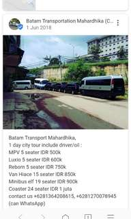 Car rental $10/pax minimum 5 pax 1 day city tour batam
