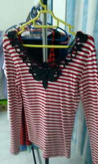 Red white stripe shirt