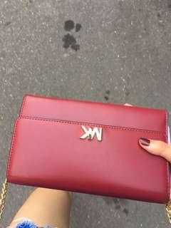 🚚 MK woc皮夾式鏈包酒紅色