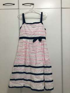 Pink, White and Navy Blue Stripped Dress