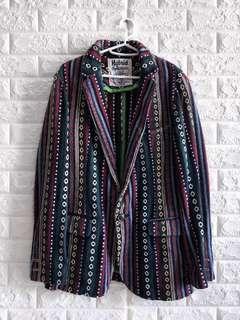 古著民族風一粒扣翻領工藝西裝外套 | Vintage Aztec Pattern Hybrid Outfitters crafted Jacket