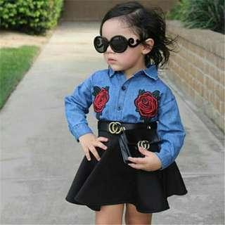 Baju 2 in 1 anak perempuan usia 3-6 th