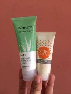 Wardah Aloe Moisturizer + Emina Sun Protection