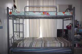 Gray Double Deck Bunk Bed with Pull out Bed