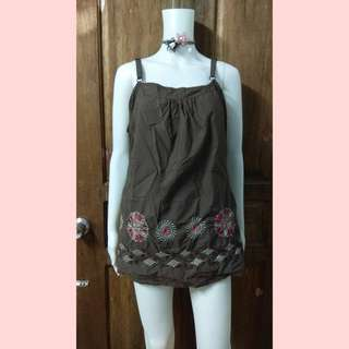 Brown embroidered sleeveless top