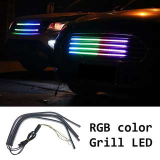Front Car Grille Bumper RGB Led Strips Lights Universal Fit Multi-Function Trunk Engine Bay LED Display Lightning RGB Colour