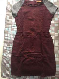 HARDWARE DRESS RED MAROON