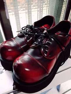 🚚 大頭酒紅厚底鞋