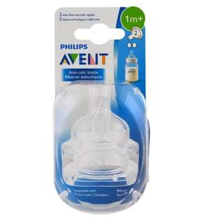 🚚 Philips Avent, Slow Flow Anti-Colic Nipples, 1 + Months, 2 Pack