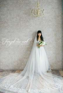 Wedding cathedral veil dress embellished sequin 婚紗 長 頭紗 教堂長度 婚禮
