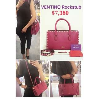 全新 VALENTINO Rockstud Tote 紫紅色 牛皮  窩釘 手袋 肩背袋 側背袋 Purple Red Calfskin Hadbag