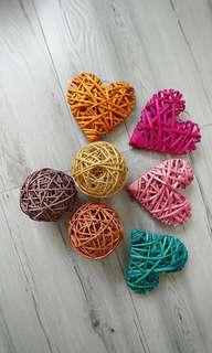 籐制心型球型裝飾品,5蚊個,30蚊7個全要