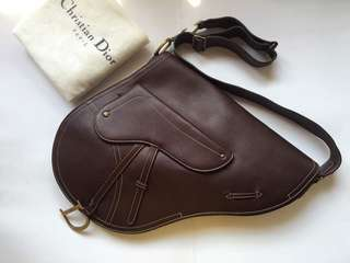 Authentic Christian Dior Large Saddle Bag in Brown