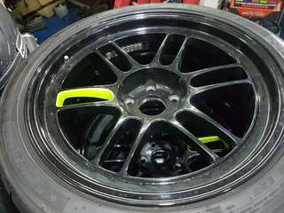 "Enkei rpf1 18"" x 9.5j rims with tyres"