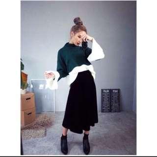 全新黑色麂皮長裙