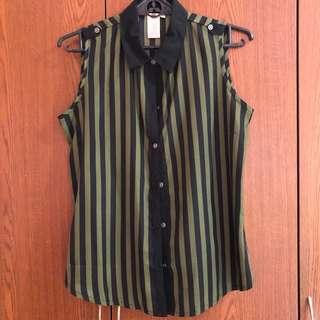 Sleeveless Black & Moss Green Stripes