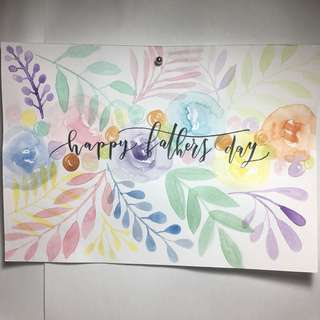 A5 Watercolour Floral, Calligraphy Card