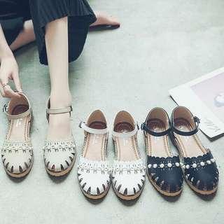 Korea style women causal middle flat sandal shoes