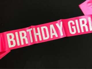 BIRTHDAY GIRL Sash Hotpink Glitter