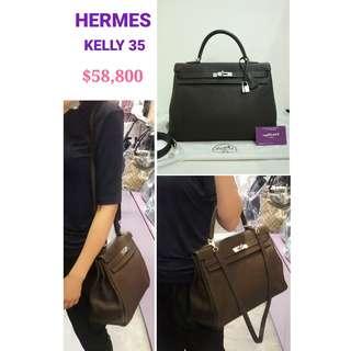 90% New HERMES Kelly 35 Clemence Leather Chololate Brown Handbag 深啡色 皮革 手提袋 銀扣 肩背袋 手袋