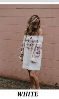 White Printed Floral dress