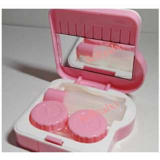 Pink Colour Contact Eyes Lens Travel Casing Tools Set Box Sellzabo