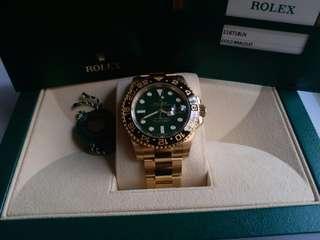 未用品 Rolex 116718 ln GMT II 綠面亂碼卡