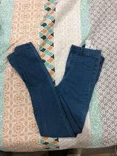 Skinny denim blue jeans