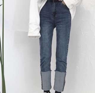 🚚 韓國反折牛仔高腰長褲牛仔褲