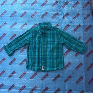 TILT Size 2 Blue Plaid Shirt/ Kemeja Kotak-kotak untuk anak umur 2 tahun