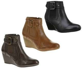 Women's Wedge Ankle Leather Boots