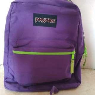 Preloved tas Jansport Original second seken wanita pria ungu tua
