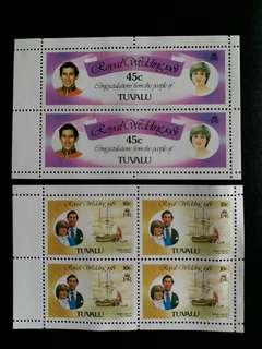 英屬圖瓦盧郵票 全新1981年英國皇储查理斯和戴安娜结婚 6個