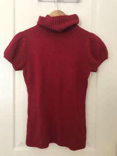 Red Short Sleeve Turtleneck Top