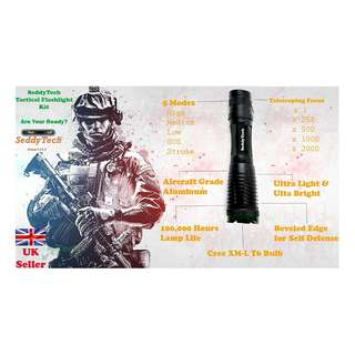 837. SeddyTech tactical flashlight Kit.Super Bright Waterproof LED torch light