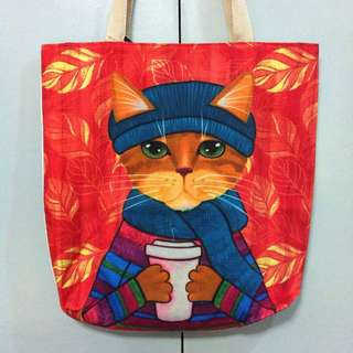 Tote Bag Canvas Cat Design with zipper