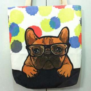 Tote Bag Canvas Dog Design with zipper