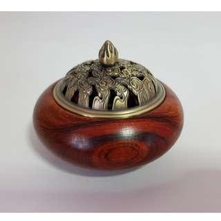 Rosewood Incense Burner w/Alloy Lid 花梨木祥雲香爐