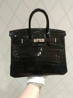 Hermes birkin 25 crocodile black